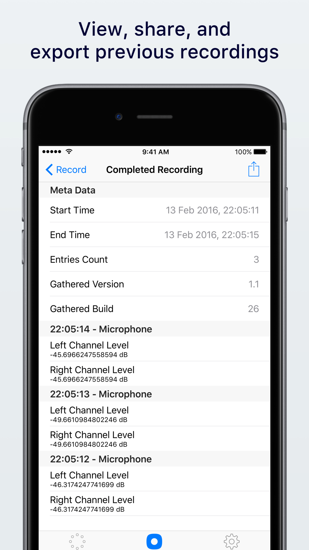 View, share, and export previous recordings
